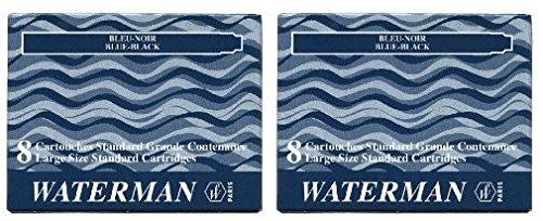 Waterman S0110910 - 2 Etuis mit 8 Großraum-Tintenpatronen blauschwarz, Tinte löschbar (2 Päckchen...