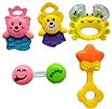 Blossom Baby Teethers Rattle Toy (Set of 5 Pcs) with Various Exciting Rattle Toys for New Borns & Infants, Multi Color