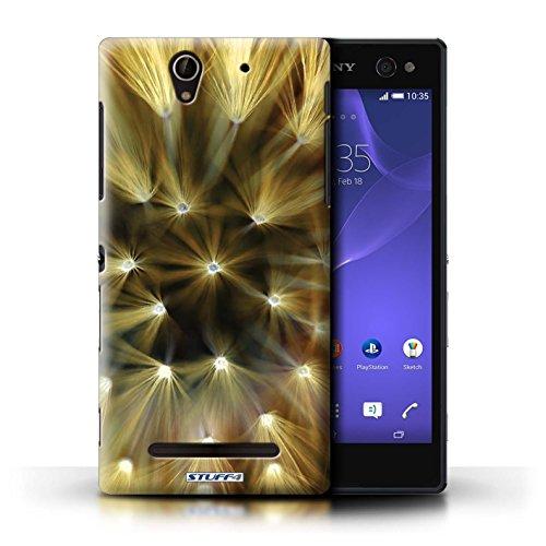 Kobalt® Imprimé Etui / Coque pour Sony Xperia C3 / Pourpre conception / Série Couleur/Lumière Fleur Jaune