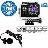 Captcha 4K WIFI Sports Action Camera Ultra HD Waterproof DV Camcorder 16MP 170 Degree Wide Angle With Lavalier Noise Cancelling 3.5mm Clip On Mini Microphone Compatible With Xiaomi, Lenovo, Apple, Samsung, Sony, Oppo, Gionee, Vivo Smartphones (One Year Wa