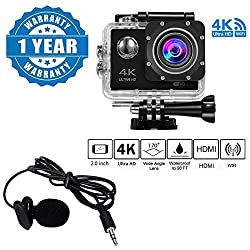 Drumstone 4K WIFI Sports Action Camera Ultra HD Waterproof DV Camcorder 16MP 170 Degree Wide Angle With Lavalier Noise Cancelling 3.5mm Clip On Mini Microphone Compatible with Xiaomi, Lenovo, Apple, Samsung, Sony, Oppo, Gionee, Vivo Smartphones (One Year Warranty)