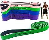 Fitnessbänder Widerstandsbänder, Set mit 4 Trainingsbändern für Workout und Physiotherapie, gratis EBOOK & Video - Pilates - Yoga – Reha, verbessern Beweglichkeit & Kraft, Ganzkörpertraining – Lebenslange Garantie (GRN)