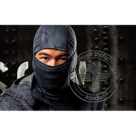 Traspirante Chiefs Rattlesnake Camo Tactical Full Face Sciarpa Airsoft Paintball CS Gioco di Guerra Maschera Passamontagna per Moto, ciclismo caccia, #1