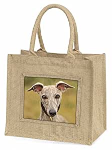 A Gorgeous Whippet Dog Large Natural Jute Shopping Bag Christmas Gift Idea