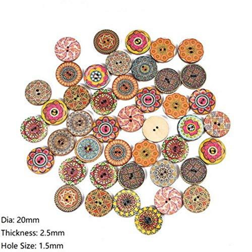 TTYAC 50Pcs Alta calidad 3 tamaños Botones de Madera Natural Botones de costura en Espiral Redondo Scrapbooking 2 agujeros Accesorios de costura para niños, 20 mm