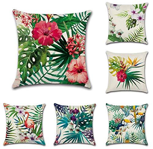 Tebery - Juego de 6 Fundas de Almohada Decorativas para el hogar, de algodón, cuadradas, para sofá...