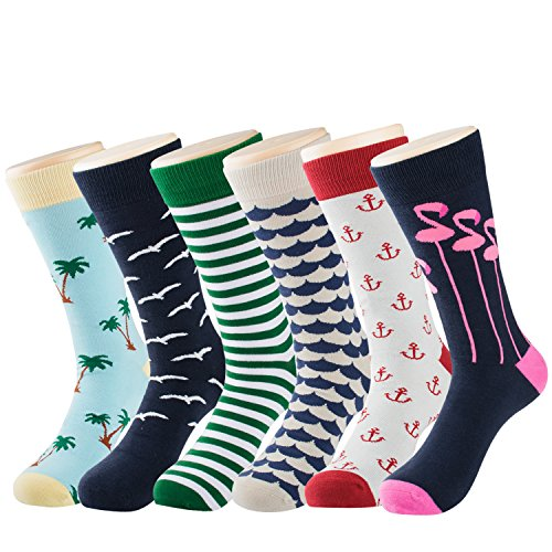 0d716f945ec Men s Cotton Dress Socks Funny Sock - Fashion Colorful Patterned Crew Socks  for Men-6
