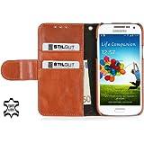 """StilGut Ledertasche """"Talis"""" Book Type Case für Samsung Galaxy S4 Mini (i9195) aus echtem Leder mit Fach für Kredit- oder Visitenkarten in Cognac"""