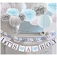 luckylibra Boy Baby Shower Decorations, It is a Boy Banners Elephant Garland and Paper Lantern Paper Flower Pom Poms (Blue White Grey)