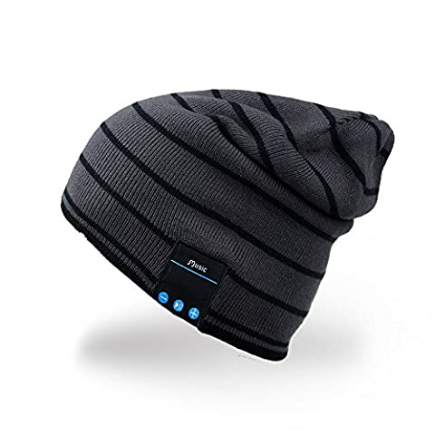 Rotibox Bluetooth Beanie Musik weiche warme Hut-Kappe mit drahtlosem Kopfhörer-Kopfhörer-Stereolautsprecher Mikrofon Freisprechen, Bestes Geburtstags- und Weihnachtsgeschenk für Winter-im Freiensport Skifahren Snowboard Wander - Schwarz
