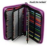 Sumnacon 160 PU cuir Trousse de crayon avec sangle à épaule , sac de crayon pour Dessinateur Professionnelle ou Amateur (Violet)
