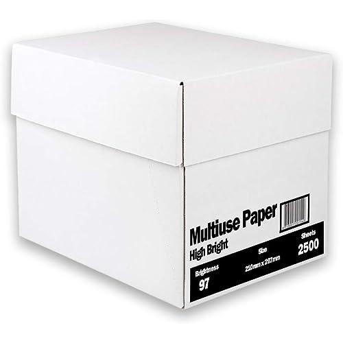 Carta A4 per ufficio, Formato A4, 75 gr, Confezione da 5 risme da 500 Fogli