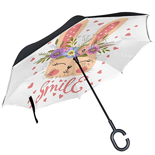 (ALAZA Bunny Blume Kranz Herz Valentines seitenverkehrt Regenschirm Double Layer Winddicht Rückseite Regenschirm)