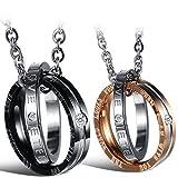 Oidea 1 Paar(2PCS) Freundschaftsketten mit Anhänger, Krone Ring Edelstahl Partner-Anhänger mit 45cm und 55cm Kette, Halskette Halsband für Damen Herren (Freundschaftsketten)