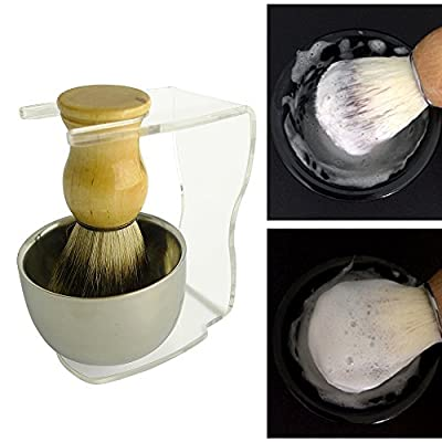 Brand New 3 in1 Men's Shaving Kits High Quality Badger Hair Brush + Clear Brush Stand +Steel Bow