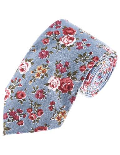 FLATSEVEN Corbatas Estampado De Flores Rosal Hombre (YA013) Celeste