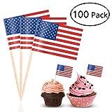 BESTOYARD Selecciones de la Bandera Americana Bandera de EE. UU. Palillos de cóctel Palos de cóctel Accesorio del Partido Fiesta de Bodas del cumpleaños Decoraciones de la Torta, Paquete de 100