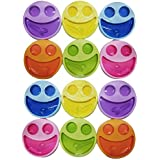 Kieana Return Gift For Kids (Boys/Girls) Birthday Party Multicolor Cute Big Smiley Plates With Fork & Spoon (Pack Of 10 Mix)