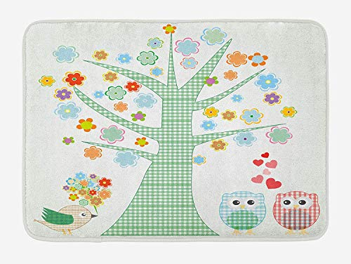 tgyew Nursery Bath Mat, Romantic Owls in Love and Big Tree with Colorful Blossoms Bird Bouquet, Plush Bathroom Decor Mat with Non Slip Backing, 23.6 W X 15.7 W Inches, Mint Green Multicolor - Mint Cleaner