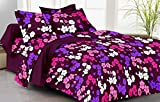rivaz DOUBLE BEDSHEET with pillow covers (COTTON) QUEEN 150 TC - Feelings 1511 PURPLE PINK FLOWERS