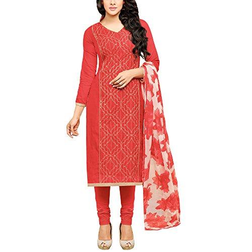Applecreation Dress material for women's Red Embellished Embroidered Chanderi Cotton Salwar Kameez...
