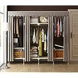ZC&J Tragbare Garderobe Kleidungs-Aufbewahrungs-Organisator-Wandschrank mit dem hängenden Zahnstangen - Nicht-Werkzeug Versammlung - Extra stark und haltbar,A6,67*68*18inch