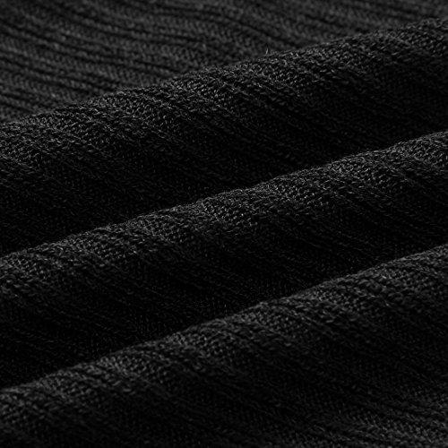 Yidarton Damen Pullover Oversized Rippe Knitted Batwing Baggy Jumper Top Strickjacken Schwarz
