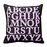 Bags-Online Home Decorative Pink and White Giraffe Print English Alphabet Pillowcase Cushion Cover Awesome Throw Pillow Cover Square 16X16 inch