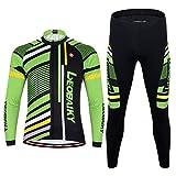 Maxmer Maillots Conjunto para Hombre Invierno Respirable Montar Bici Moto, Color Verde