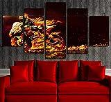 wsndaye Stampa Foto su Tela 5Peece Canvas Art Valentino Rossi Moto Poster Stampato Picture Wall Art per Room Decor Art Canvas Painting Picture Poster Prints