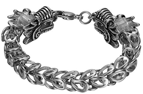 Adisaer Herren Armband Edelstahl Zopfkette Zwei Dragon Kopf ArmreifenSilber Gothic (Dragon Glück Kostüm)