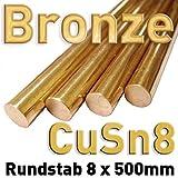 Bronze Rundstange ⌀8 x 500 mm CuSn Rund Stab Metall Rundmaterial Stange