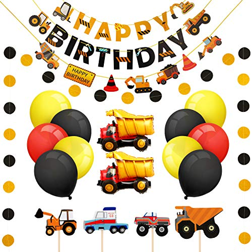 Boao Construction Birthday Supplies Dump Truck party Decoration Sets with Truck Cake Toppers, Happy Birthday Banners, Dot banner, Balloons, Decors 49 Pieces