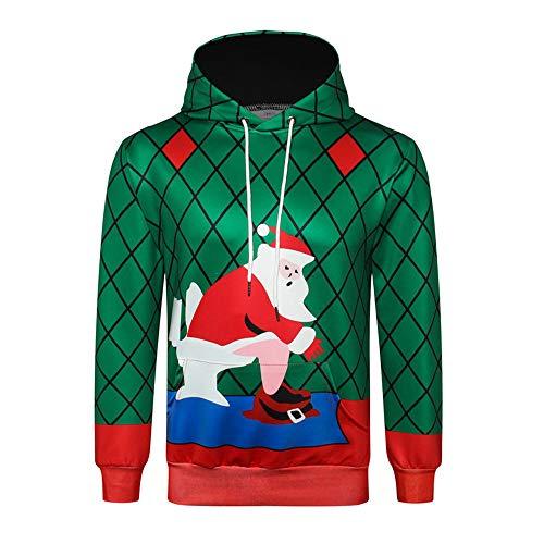 TWBB Sweatshirt à Capuche Hoodies Manches Longues Pull Automne Hiver Père  Noël Impression Blouse à Capuche 7e69d3980c
