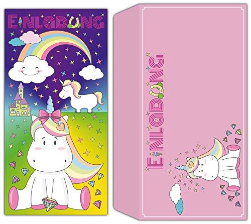 KRÖGER MARKETING Einhorn Karten-Set - 12 Einladungskarten inklusive Umschläge - süße Karte mit niedlichem Einhorn Motiv und rosa Umschlag für Mädchen Kindergeburtstag, Mädels Party, Geburtstag Feier