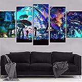 Wohnkultur Modular Kunstwerk drucken 5 Panele Drucke auf Leinwand Rick und Morty Poster Bilder Wandkunst für Wohnzimmer,B,30×50×2+30×70×2+30×80×1