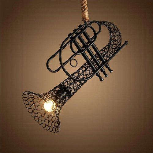 Modeen Single Head Retro Creative Eisen Spitze Hanf Seil Decke Anhänger Lichter Saxophon Horn Modellierung Western Restaurant Bekleidung Shop Cafe Anhänger LOFT Dekorative Kronleuchter Lampe - Spitze Hanf