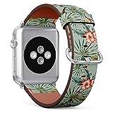 MysticBand Compatible avec Apple Watch (Grand) 42mm / 44mm, Bracelet de Remplacement en Cuir avec Connecteurs en Acier Inoxydable - Fleurs d'hibiscus Rouge Feuilles de Palmier