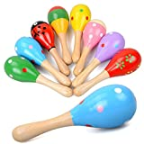 Beatie 1 Stück Babys Kinder Holz Rasseln Spielzeug Musikinstrumente Sand Hammer für Jungen und Mädchen Lern-Spielzeug Training der auditiven Trainingsfähigkeit, 11.5cm (Zufällige Farbe)