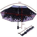 BUDIAN Regenschirm Sakura Automatic Umbrella Female Parasol Schwarz Beschichteter Sonnenschirm Female Three FoldPink