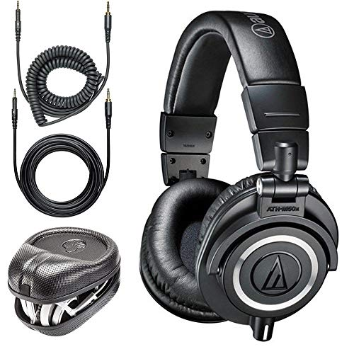 Price comparison product image Audio-Technica ATH-M50x Professional Monitor Headphones + Slappa Full Sized HardBody PRO Headphone Case (SL-HP-07)
