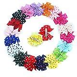 18PCS 7,6cm Boutique Mädchen Polka Ripsband Colorful Pinwheel Kinder Haar Schleife Clips Mädchen Haar Clips
