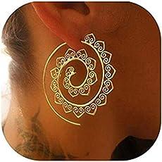 Satyam Kraft Golden Metal Oval Shape Earring For Women