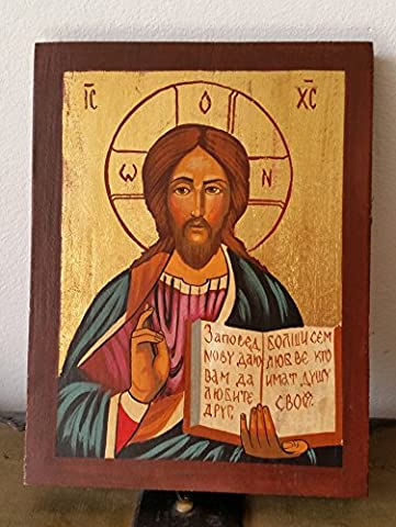 Hand Painted Orthodox Icon of Jesus Christ Pantokrator God Almighty Christ the Teacher