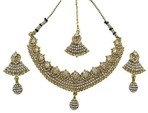 Parure collier et boucles doreilles en or blanc 18/K orn/és dopales en forme de goutte