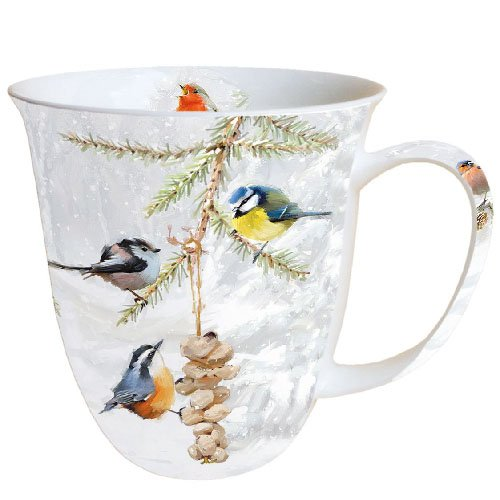 Ambiente Becher - Mug - Tasse Tee / Kaffee Becher - All Together - Winter - Vogel - Christmas - Weihnachten ca. 0.4L - Ideal Als Geschenk