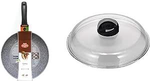 BALLARINI Cortina Granitium Padella 1 Manico, Alluminio, Grigio, 28 cm & Cortina Granitium Igloo Coperchio in Vetro Trasparente, 28 cm