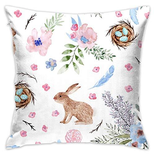 Harry wang copricuscini e federe 45x45cm coniglietti pasquali, uova, fiori primaverili_4194 100% cotone, decorazione soggiorno, divano casa, ufficio, auto.
