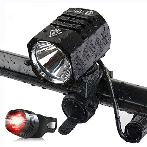 LED Fahrradlicht Set, LED Scheinwerfer, 1200 LM, XM L2, Sport, Fahrradlampe LED mit Akku, LED Fahrradbeleuchtung USB Aufladbar inkl, LED Frontlichter, Rücklicht mit Knopfzelle, Halterung, Kopfbügel zur LED Stirnlampe