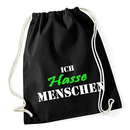 Ich Hasse Menschen Turnbeutel Beutel Gymsac Schwarz Grau (Schwarz/Grün) (Kämpfer-t-shirt Liebe)